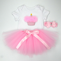 Christmas Baby Girl 3pcs Clothing Sets Infant Cotton Romper Tulle Skirt Headband Halloween Costumes Party Bebe