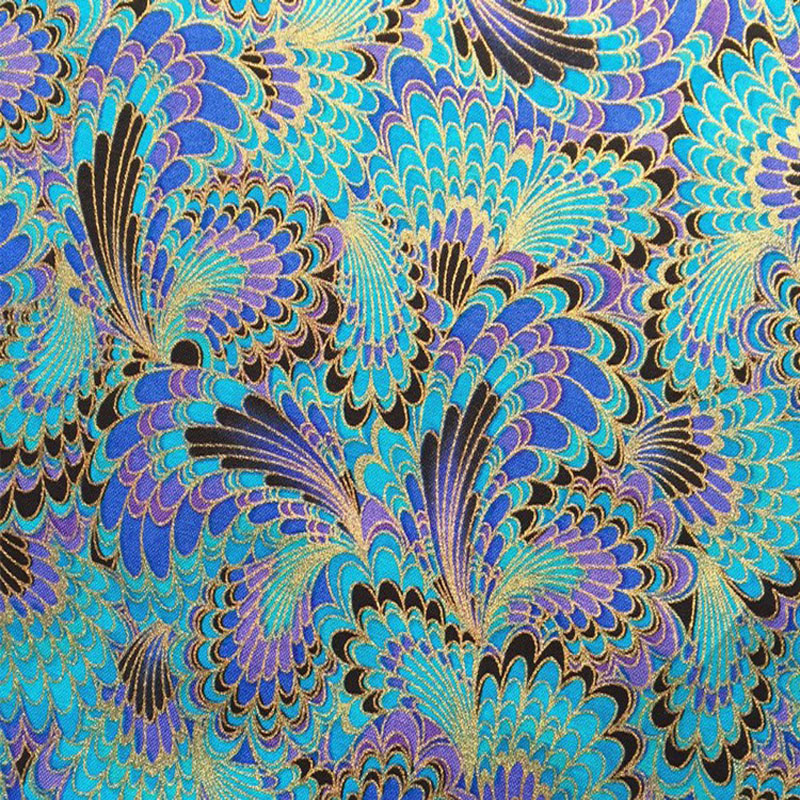 Gorgeous Blue Peacock Feather Gold Bronzing Printed 100% Cotton Fabric 50x140cm Bedding Quilting Clothing DIY fabric