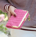 Female European And American Style Weave Wallet Vintage Women Wallet Brand Small Lock Design Women Purse Small Zipper Coin Purse