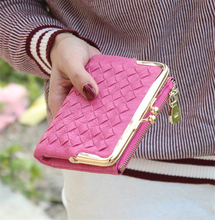 Female European And American Style Weave Wallet Vintage Women Wallet Brand Small Lock Design Women Purse Small Zipper Coin Purse