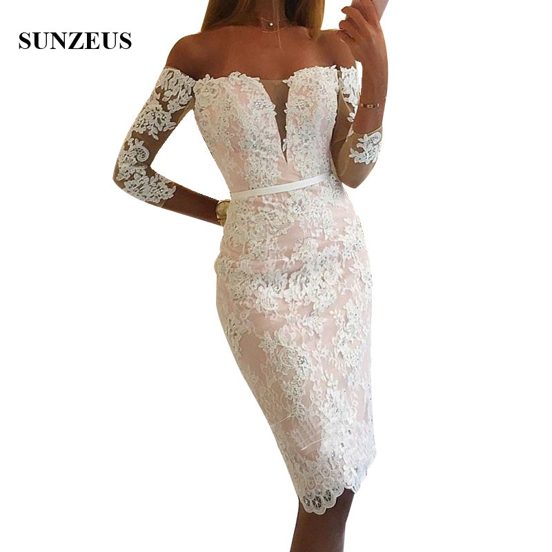 Elegant Knee Length Lace   Bridesmaid     Dresses   With Appliques Beads Off Shoulder Three Quarter Sleeves Party Gowns Women Prom   Dress