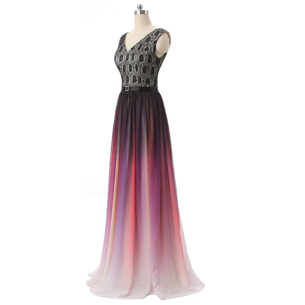 JaneVini простые шифоновые длинные свадебные платья v-образный вырез без рукавов со шнуровкой сзади градиентные фиолетовые трапециевидные вечерние платья большого размера