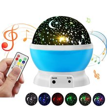 Rechargeable Novelty Moon Star Projector Rotating Night Light Kid Baby Nursery Bedroom USB Operated Lamp W/ Remote Music Speaker