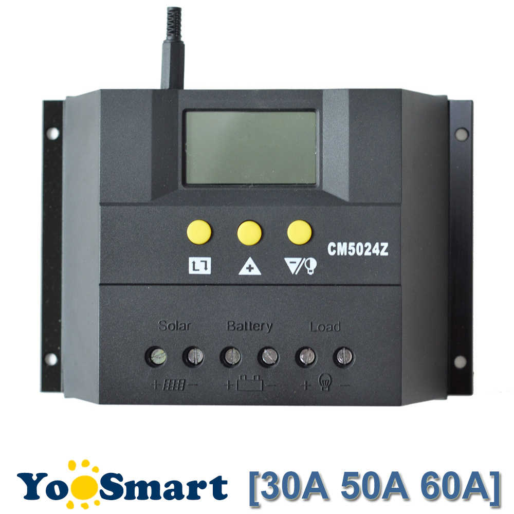 PWM 30A 50A 60A Solar Charge Controller 12V 24V LCD PV Panel Solar Charge Controller Sistem untuk Baterai AGM