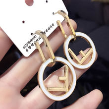 Korea Fashion Earrings Female Temperament Ear ring F Letter Gold Silver Color Earrings Jewelry(China)