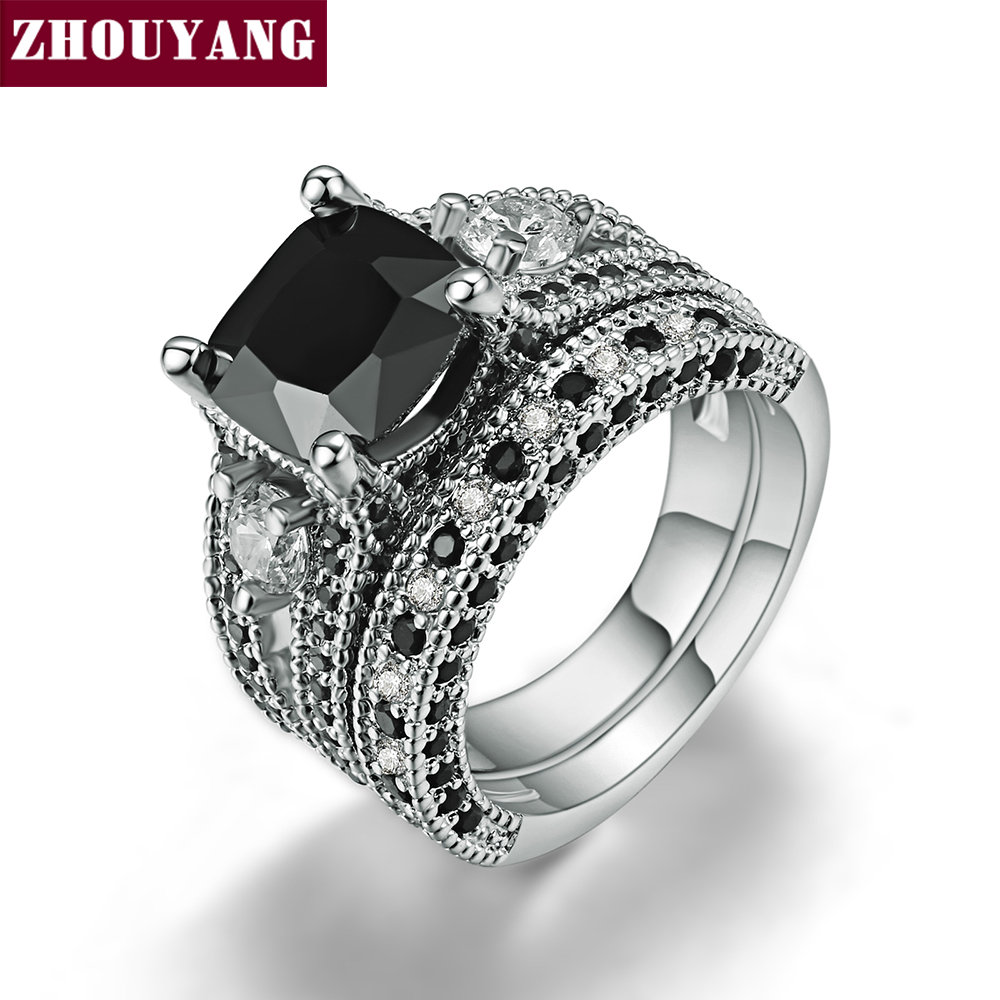 Silver Color Black Square Stone Ring Sets Luxury 2 Rounds Fashion Cocktail Party Ring Brand Jewelry For Women ZYR617