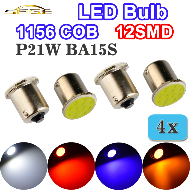 flytop 4 x COB P21W LED Bulb 12SMD 1156 BA15S White / Red / Blue / Yellow Car Bulbs Auto Lamps 12V RV Truck Vehicle Lights flytop 2 x w5w 10smd canbus t10 5630 smd 194 led car bulbs error free can bus auto lights white blue crystal blue yellow red