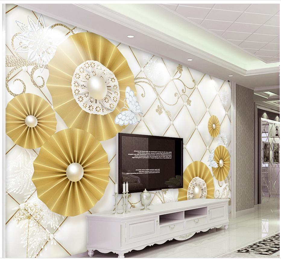 Custom 3d Mural Wallpaper Pearl Flowers Diamond Butterfly