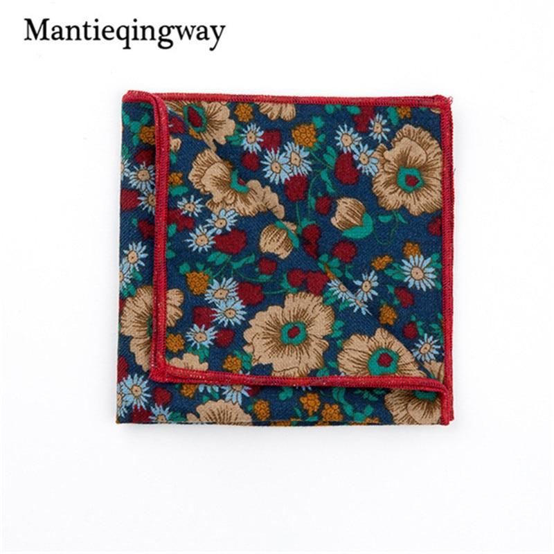 Mantieqingway Pocket Square Floral Handkerchiefs Fashion Casual Cotton Printed Pocket Handkerchief For Men Business Suit Hankies