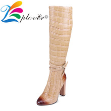 Women Boots Genuine Leather Shoes Woman Knee High Boots Winter Fur Shoes High Heels Botas Mujer 2019 Big Size Bottines Femme цены онлайн