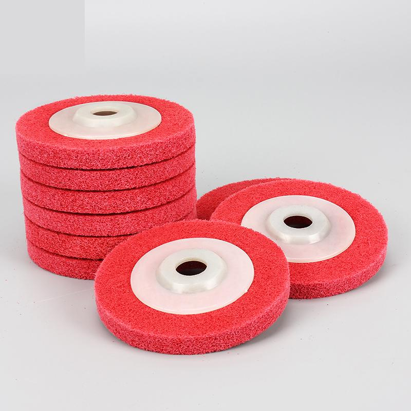 Metal polishing wheel 100*16mm7p 9p Non woven abrasive wheel Nylon Fiber polishing wheel Abrasive disc fiber polishing buffing wheel grit nylon abrasive 25mm thickness 7p hardness 32mm id