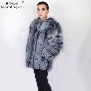 Image 3 - Linhaoshengyue Length70CM abrigo de piel de zorro auténtica, abrigo de piel Natural, abrigo de piel auténtica de zorro, mujeres de invierno