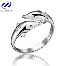 Quente popular requintado animal 925 jóias de prata esterlina criativo duplo golfinho hipoalergênico feminino abertura anéis sr289