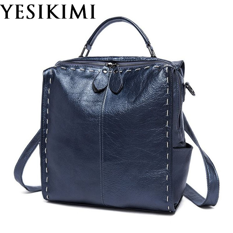 Oil Wax Genuine Leather Backpacks Women Casual Backpack Stitching Bookbags Zipper Closure Cowhide Leather Backpack Vintage