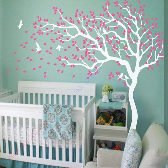2017 New Nursery Tree Wall Decals Wall Stickers Wall Tree Decals White Tree  Wall Tattoo Size 210X213CM Part 85