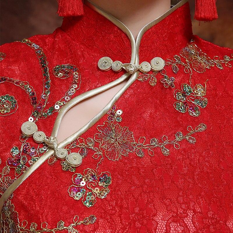 Cinese Vestire 2xl Vestiti Partito Qipao Pizzo Donne Rosso Retro Signora Della S Delle Abiti Di Novità Lungo Dell'annata Abito Da Sottile Stile Cheongsam BwCw8OHq