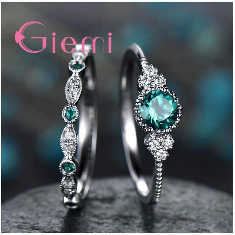 Luxury Brilliant Sweetheart Lover คู่แหวนเงิน Anel Pave สีม่วงสีเขียวสีฟ้า Spark คริสตัลสำหรับงานแต่งงาน
