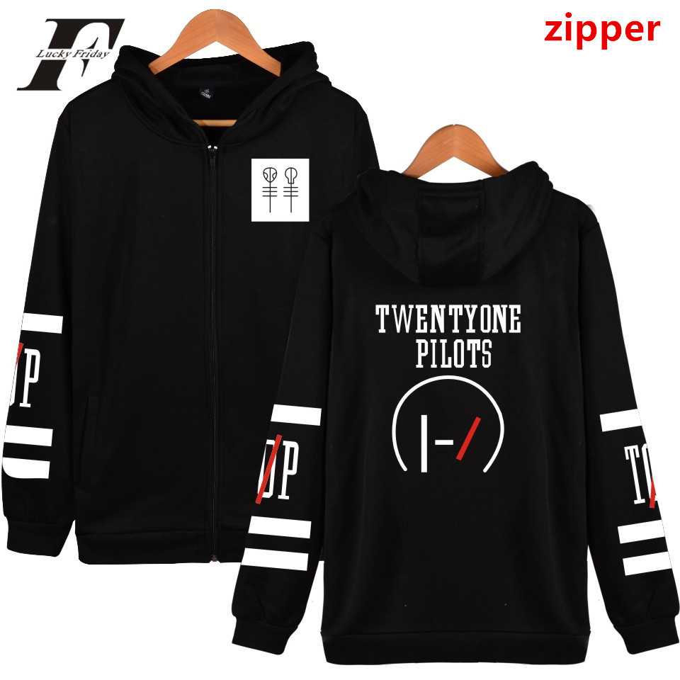 LUCKYFRIDAYF Twenty One Pilots Hooded Hoodies Men Zipper Rock Band Hip Hop Mens Hoodies And Sweatshirts