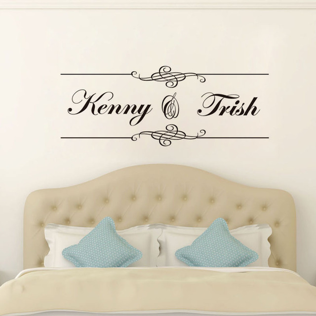dctop scripe wedding vinyl wall sticker any couple name wall decal wedding wall decor personalised name