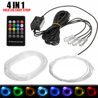 12V 4/5 In 1 RGB LED Car Neon EL Strip Light Interior Decor Atmosphere Strip Lamp Sound Active Remote Control Light