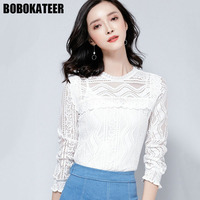 BOBOKATEER White Lace Blouse Women Summer Sexy Top Long Sleeve Ladies Blusas Shirt Womens Tops And