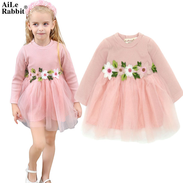 53f0b2b79 AiLe Rabbit Brand Girls Long Sleeve Dress Flower Fall New Princess ...