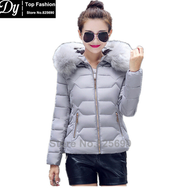 Padded Winter Jacket Women Cotton Women's Winter Jacket Fashion Slim Plus Size Solid Parkas Hooded With Fake Fur Coat Casacos