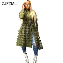 40a2e2c51beb Sheer Mesh Cascading Ruffles Sexy Dress Women Front Zipper Long Sleeve Plus  Size Vestidos Streetwear Female