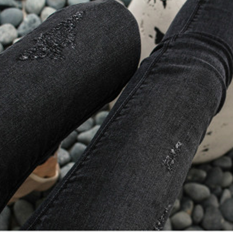 Plus Size Women Casual Mid waist Denim Jeans Korean Fashion Slim skinny Trousers Solid Color Long