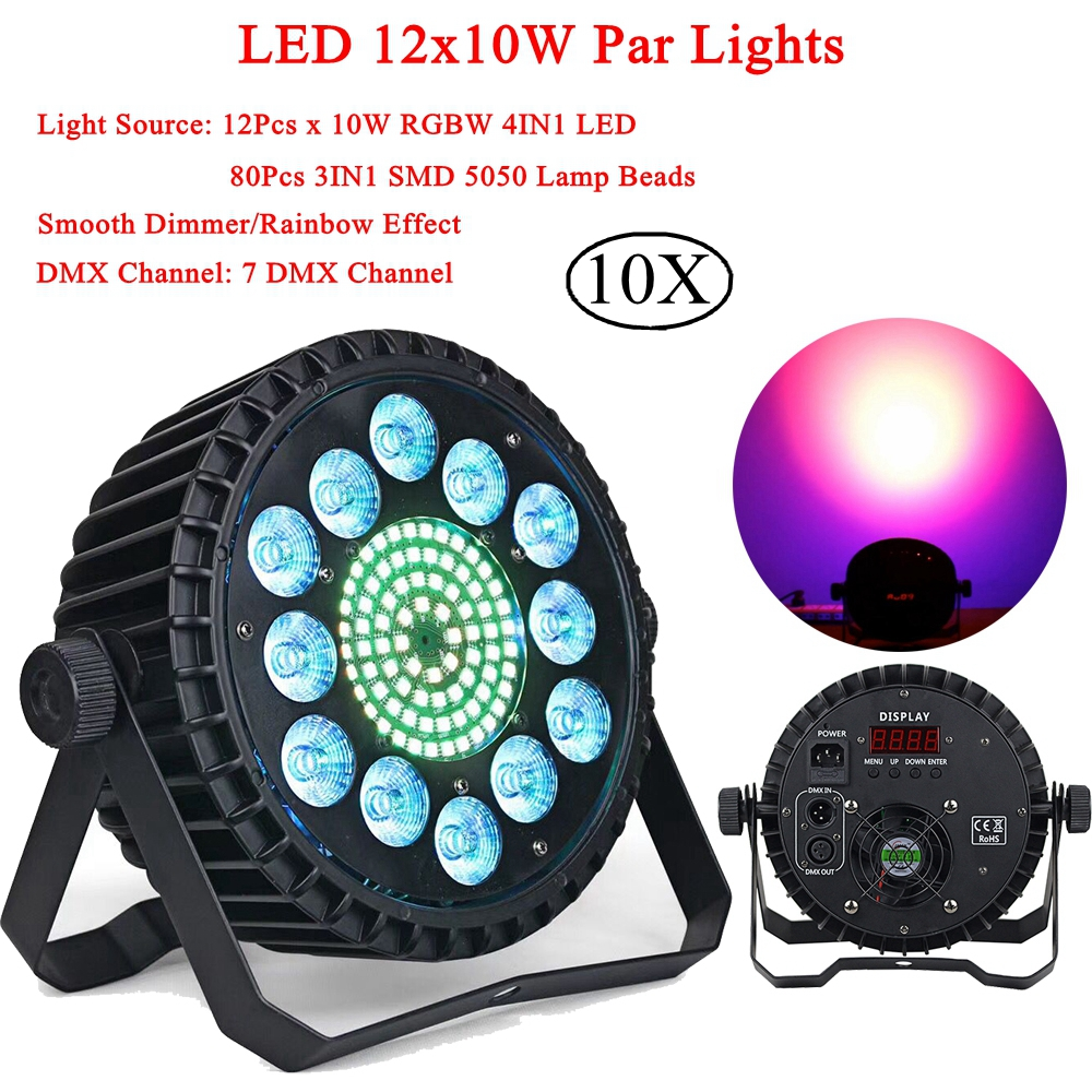 10Pcs/Lot 12x10w RGBW 4IN1 LED Par Lights 80Pcs 3IN1 SMD 5050 Lamp Beads DMX512 Disco Lights Professional Stage Dj Equipment