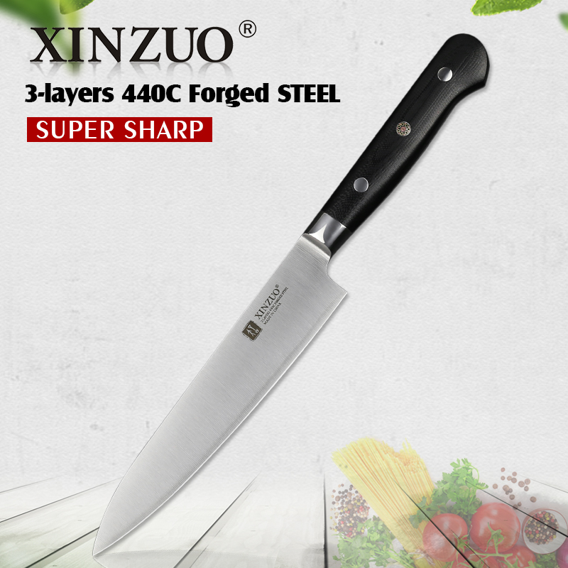 XINZUO 6 in utility knife 3 layer 440C clad steel kitchen knives stainless paring universal knife table knife cutlery G10 handle
