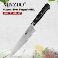 Xinzuo 6 في سكينة 3 طبقة 440c يرتدون الصلب سكاكين المطبخ الفولاذ سكين التقشير العالمي الجدول سكين السكاكين g10 مقبض