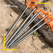 TiTo Titanium Tent stake 6 pcs Titanium tent nail titanium spike Plus Outdoor camping super brave Warrior 6mm Titanium tent peg(China)
