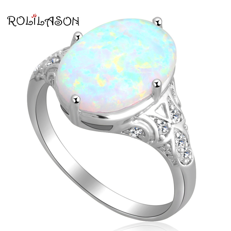 White fire Opal Silver Stamped Ring Oval Design Fashion Jewelry Rings USA size #7 #8 #9 OR565 new arrival