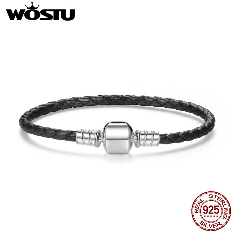 2019 New 100% <font><b>925</b></font> Sterling Silver & Real Black Leather Chain Charm Fit <font><b>Pan</b></font> <font><b>Bracelet</b></font> For Women Men Original Fine Jewelry image