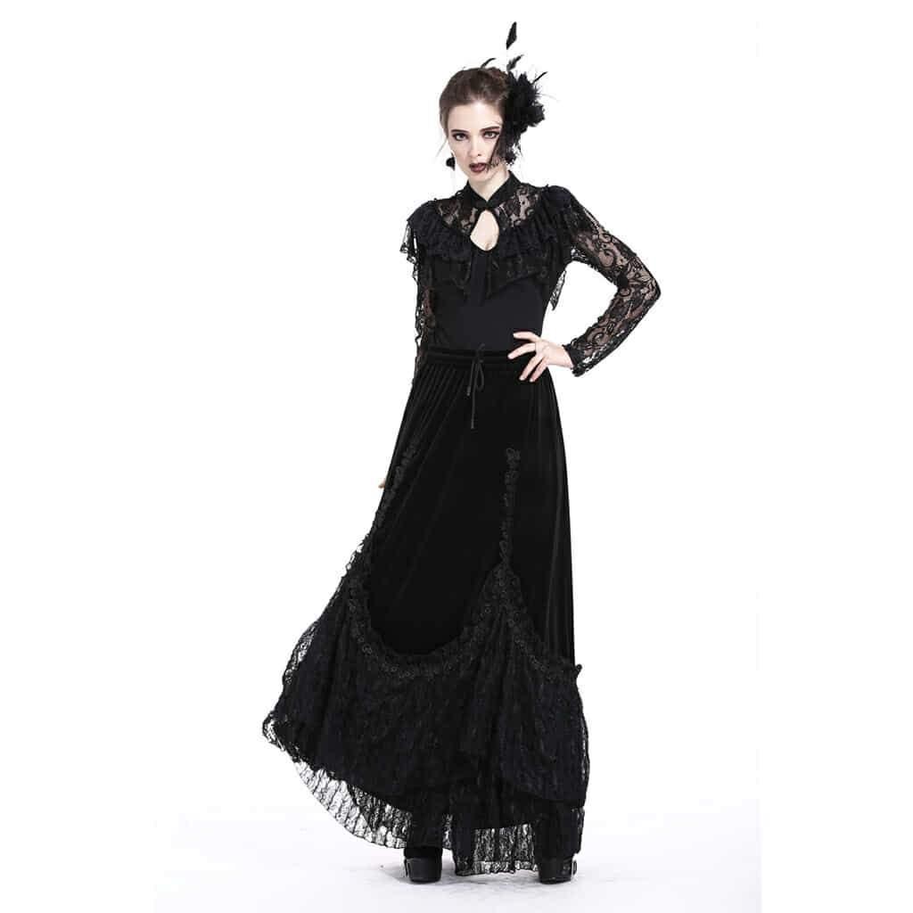 Darkinlove Women's Elaborate Lace & Velour Skirt KW131