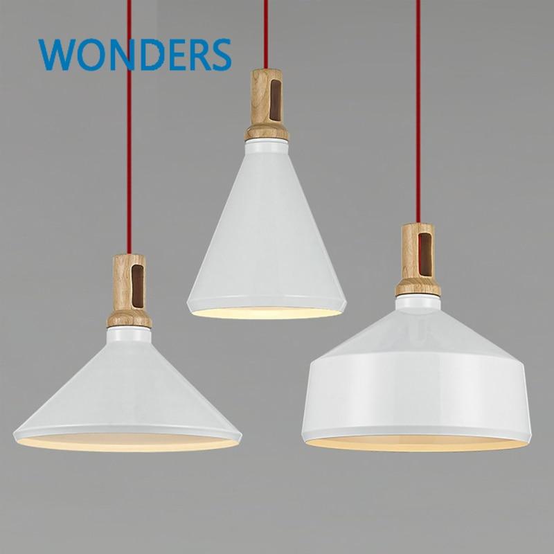 Loft Style Instrument ABC Pendant Lights Aluminum Wood E27 Pendant Lamp Matt White Hanging Light for Dinning Room/Bar