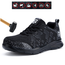Mens Safety Shoes Reflective Lightweight Anti-smashing Anti-piercing Construction Work Footwear Breathable Knit Steel Toe цены