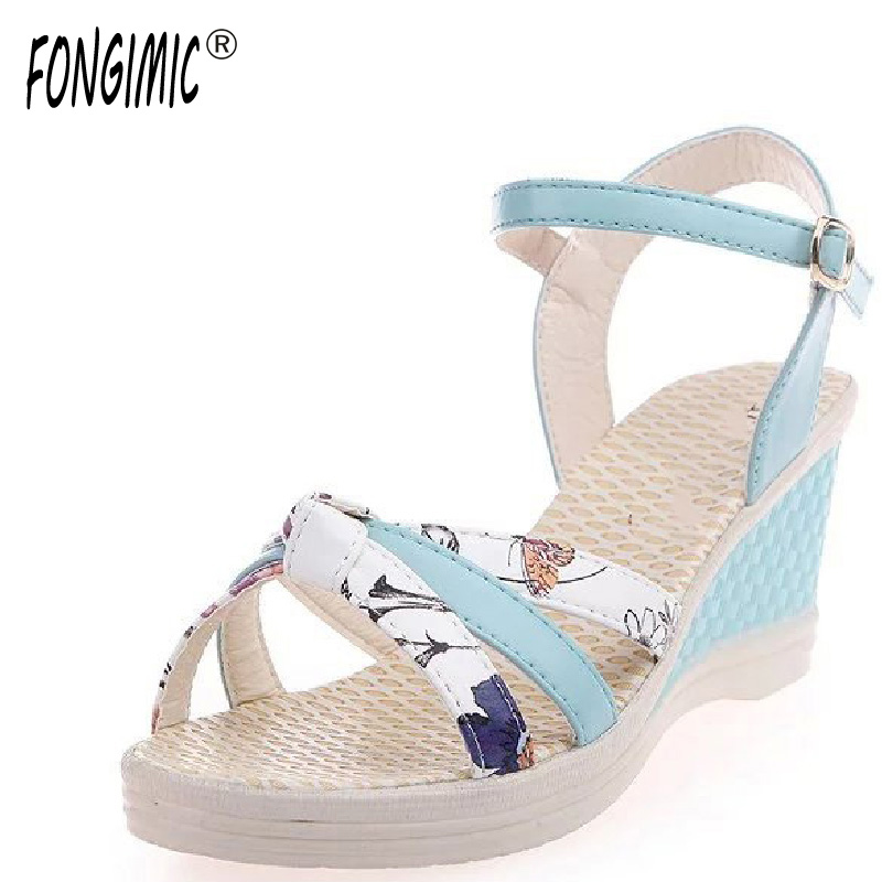 Fongimic Women Sandals Summer Fashion Sweet High Quality Casual Breathable New Hot Shoes Mixed Colors Wedges Round Toe Sandals high quality fashion women sandals flat shoes summer pee toe sandals indoor&outdoor leisure shoes dropshipping ma31