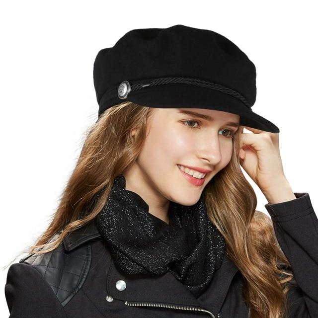 Vbiger Fashion 2017 Black Hat Women Casual Rope Flat Cap Elegant