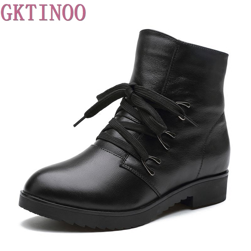 Fashions Snow Boots Women's Shoes Mother Ladies Female Plush Winter Fur Rubber Genuine Leather Lace Up Flats Round Toe