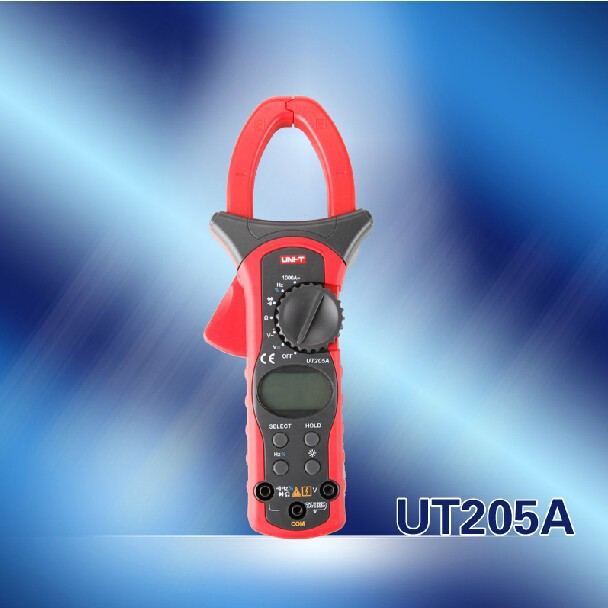 Quality UNI-T UT-205A AC DC Digital Clamp Meter Multimeters Current Digit Volt AC Ampere Ohm Hz Tester мультиметр uni t uni t ut71b alicate amperimetro ac dc