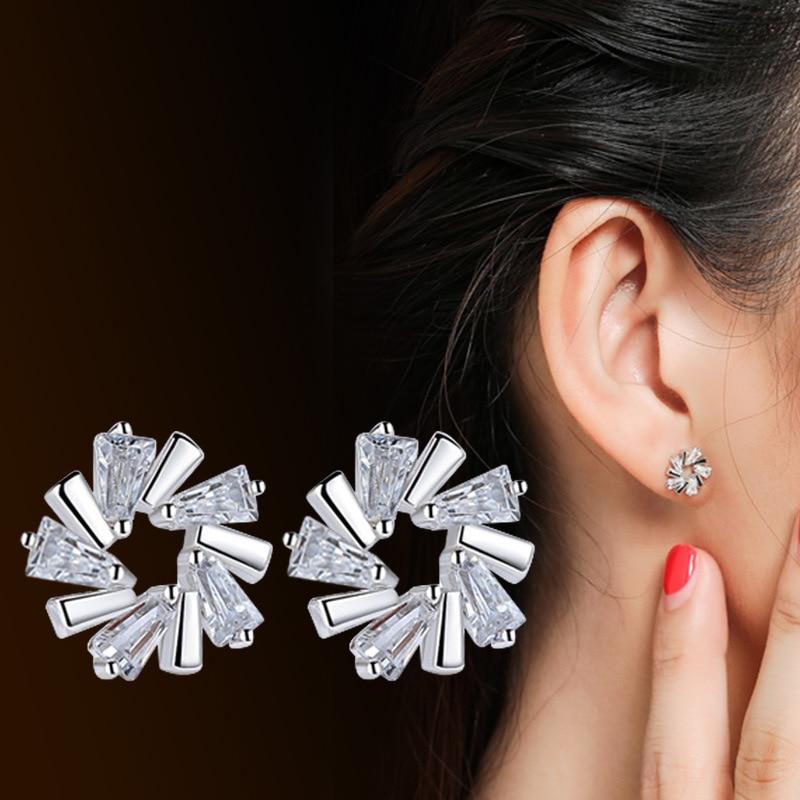 2017 New Fashion Geometric Luxury Star Snowflake Earrings For Women Classic Jewelry Silver Color Crystal Rhinestone Jewelry