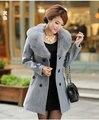 Горячая Продажа 2015 Новый Осень Зима Шерсть Большой Меховой Воротник пальто Британский Стиль Женщин, Модные Элегантный Тонкий Пальто Плюс Размер H5054