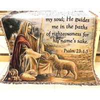 Jesus Feeding The Sheep Tapestry Wall Hangings Shepherd People Picture Warm Blanket / Carpet / Tapestry Sofa for Home Decoration