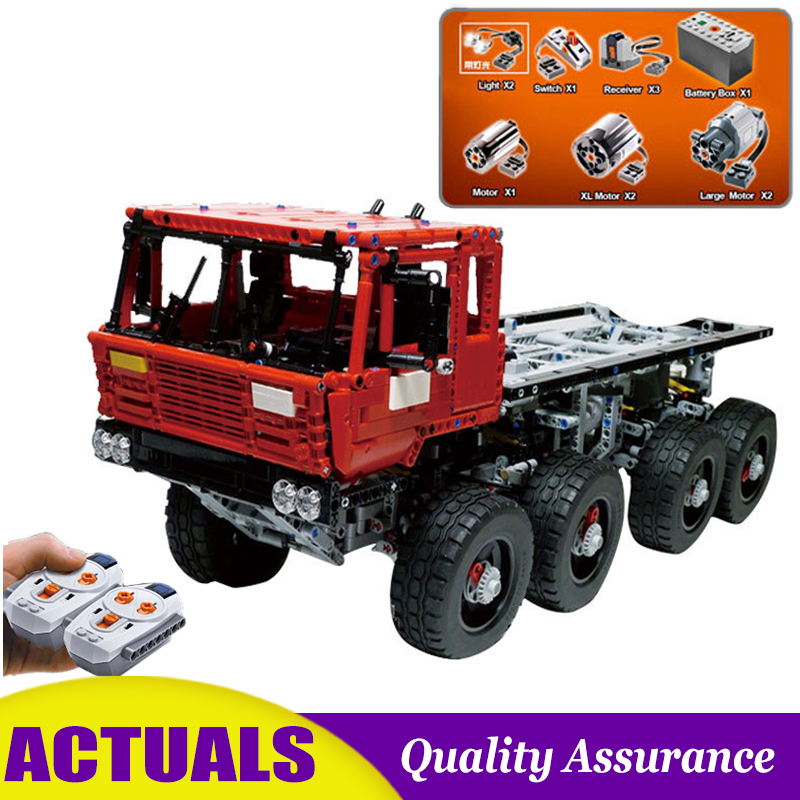 RC Tatra 813 Tow Truck Compatible MOC Technic 23012 Building Blocks with Electric Motor Battery Power