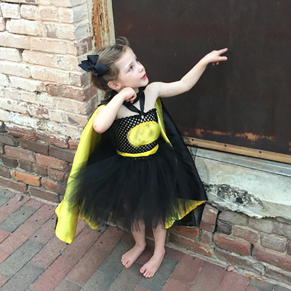 Image 5 - 1 14Y Black Girl Batman Tutu Dress Knee Length Bat Girl Birthday Halloween Cosplay Costume For Photos Baby Kids Clothes Set-in Girls Costumes from Novelty & Special Use
