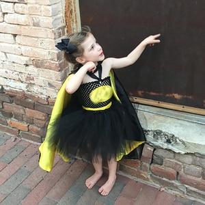 Image 5 - 1 14Y Black Girl Batman Tutu Dress Knee Length Bat Girl Birthday Halloween Cosplay Costume For Photos Baby Kids Clothes Set