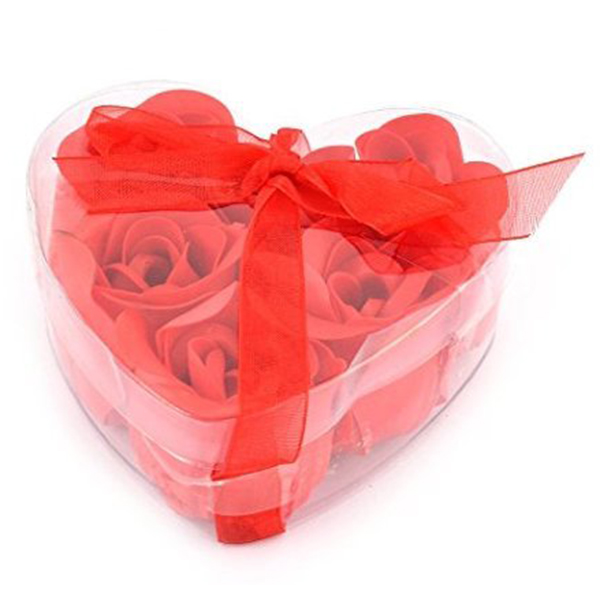 New 6 Pcs Red Scented Bath Soap Rose Petal In Heart Box