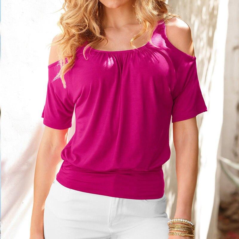 Carol Diaries Summer TShirt Women Sexy Off Shoulder Tunic Tee Tops Lady Casual Short Sleeve T Shirt Femme Camisetas Mujer Blusas